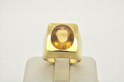 MENS 18 KT YELLOW GOLD TOPAZ RING