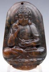 Jade Hand Carved Old Nephrite Shakyamuni Buddha Praying