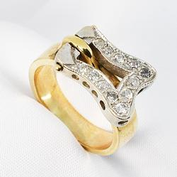 Dynamic Diamond Ring in 14K White and Yellow Gold