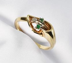 Darling Emerald and Diamond Lily Ring in 10K