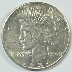 Rare Key Date Near BU 1934-S Peace Silver Dollar