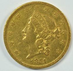 Attractive 1851 Type One $20 Liberty Gold Piece. Scarce