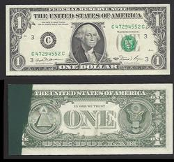 $1 1981 Thick Dark Ink Smear Lightly Circulated