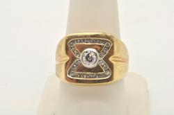 MENS 14 KT YELLOW GOLD DIAMOND RING