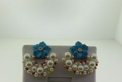 Gold Plated Nakomol Flower and Pearl Earrings