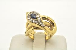 LADIES 18 KT DIAMOND AND SAPPHIRE SNAKE RING