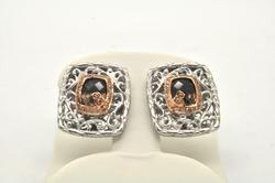 LADIES 18 KT AND STERLING SILVER BELLARRI EARRINGS