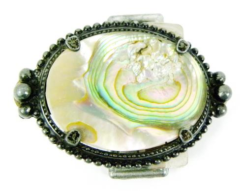 Vintage Ornate Alabaster Shell Belt Buckle