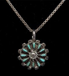 Vintage Turquoise Flower Necklace in Sterling Silver