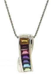Favorite White Gold Multi Gemstone Necklace