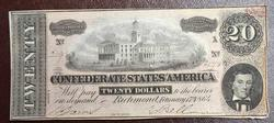 Crisp Original 1864 CSA $20 Note, AU/UNC