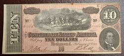Original Lightly Circulated 1864 CSA $10 Note