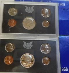 1968 & 1969 Silver PROOF Sets, Government package.
