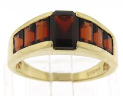 Strong Yellow Gold Garnet Cocktail Ring