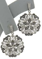 Dazzling 18kt Diamond Snowflake Pattern Dangle Earrings