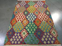 Decorative Colorful Hand knotted Kilim Wool 4X7