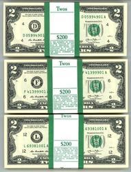 3 Diff Fed Res Bank Gem Sealed Packs $2 Bills: F, L, D