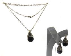 Vintage Marcasite and Black Onyx Necklace & Earrings