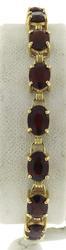 Beautiful Yellow Gold Garnet Line Bracelet