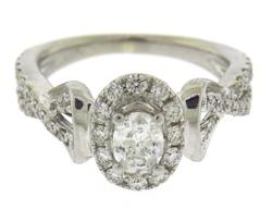 Favorite White Gold Oval Diamond Halo Crossover Ring