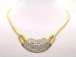 LADIES 14 KT ITALY OMEGA DIAMOND NECKLACE