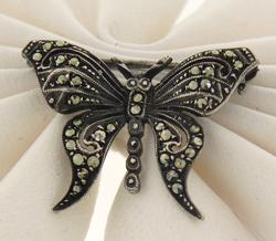 Vintage Sterling Silver Marcasite Butterfly Pin