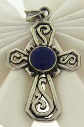Sterling Silver Blue Stone Cross Pendant