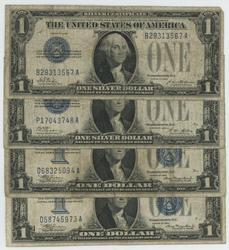2 1928 & 2 1934 Funny Backs $1 Silver Certificates