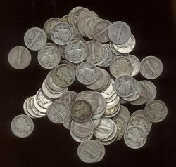 Nice lot of 100 assorted Old Winged-Head Mercury Dimes