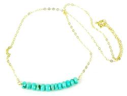Gold Filled Necklace with Turquoise Rondelles