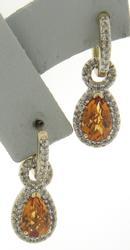 Fabulous Pear Citrine with Diamond Halo Earrings