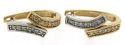 Gorgeous Two Tone Gold Diamond Bypass Earrings