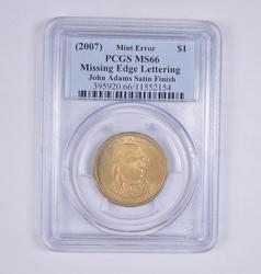 ERROR MS66 (2007) John Adams Satin Dollar - No Edge Lettering - PCGS