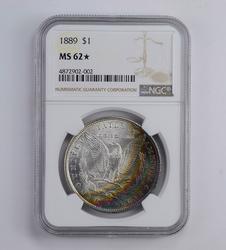 MS62* STAR 1889 Morgan Silver Dollar - Rainbow Toned - Graded NGC