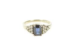 14K White Gold Emerald Cut Sapphire Diamond Engagement Ring