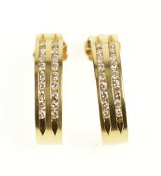 14K Yellow Gold Diamond Channel Curved Bar Semi Hoop Earrings