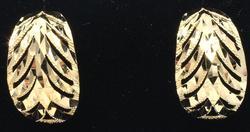 Large Ornate 14kt Half Hoop Earrings