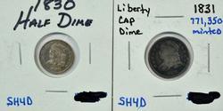 Real sharp 1830 Bust Half Dime & 1831 Bust Dime
