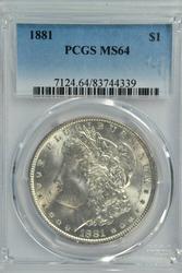 Near Gem BU 1881 Morgan Silver Dollar. PCGS MS64