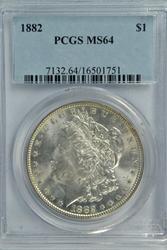 Great near Gem BU 1882 Morgan Silver Dollar. PCGS MS64