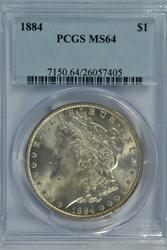 Scarce near Gem BU 1884 Morgan Silver Dollar. PCGS MS64