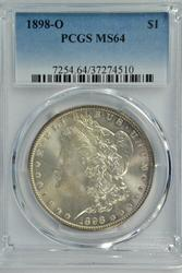 Basic Gem BU 1898-O Morgan Silver Dollar. PCGS MS65