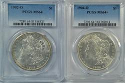 Near Gem BU 1902-O & 1904-O Morgan Dollars. PCGS MS64