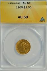 Near Mint 1905 US $2.50 Liberty Gold Piece. ANACS AU50