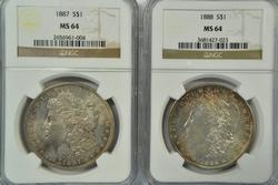 NGC MS64 1887 & 1888 Morgan Silver Dollars. Real nice