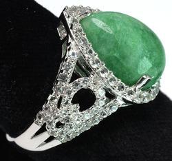 Very Attractive Emerald & White Sapphire Ring
