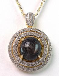 Charming Natural Ruby & Topaz Pendant with Chain