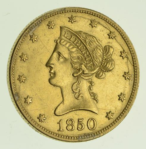 1850 $10.00 Liberty Head Gold Eagle - Circulated