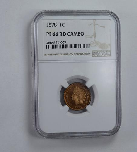 PF66 RD Cameo 1878 Indian Head Cent - Graded NGC