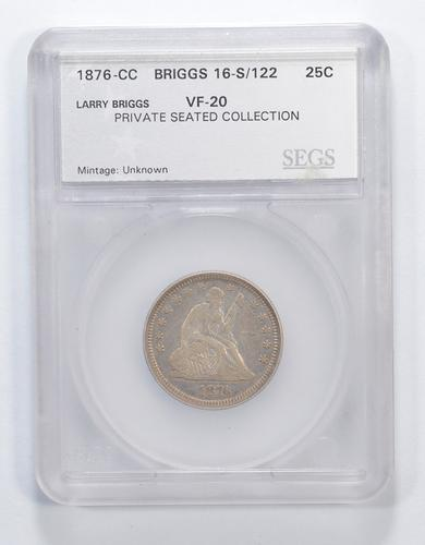 VF20 1876-CC Seated Liberty Quarter - Briggs 16-S/122 - Graded SEGS